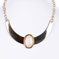 NECKLACE / FACETED LUCITE STONE / CHOKER / METAL / MIRROR FINISH / 1 1/2 INCH DROP / 14 INCH LONG / NICKEL AND LEAD COMPLIANT