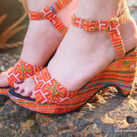 Vegan Ethnic Womens Sandals Tangerine Hmong Embroidery Cut Out Wedge Heel