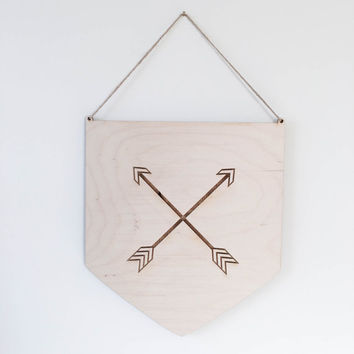 Crossed Arrow Flag Boho children's room Arrow nursery decor  laser cut wooden arrow boho baby tribal nursery decor rustic arrow