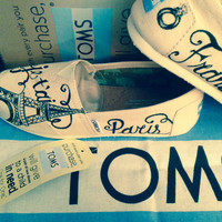 Painted Toms engagement gift or wedding toms effiel tower I love Paris wedding gift