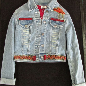Denim Jacket Custom Embellished with Cowboy Hat and Horse and Trim