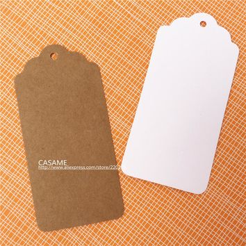 4.5x9.5cm 50pcs  white paper tags blank paper Label hang Scallop Kraft Blank Hang tag Retro Gift tag Table Number cards craft