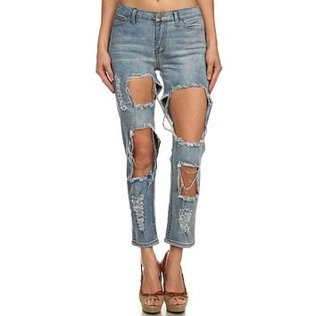 Destroyed Ripped Distress Cutout Cropped Ankle Length Denim Stretch Slim Jean