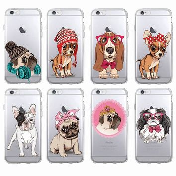 Cute Puppy Pug Bunny Cat Princess French Bulldog Soft Phone Case Cover Coque Funda For iPhone 7 7Plus 6 6S 6Plus 8PLUS X Samsung