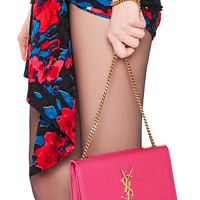 Saint Laurent Small Patent Monogramme Kate Chain Bag in Shocking Pink | FWRD