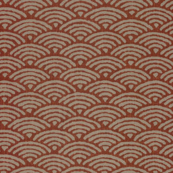 Large Waves Red and Tan Japanese Cotton Quilting Fabric KW-3650-2C