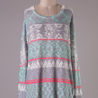 Mint and Gray Cozy Tunic