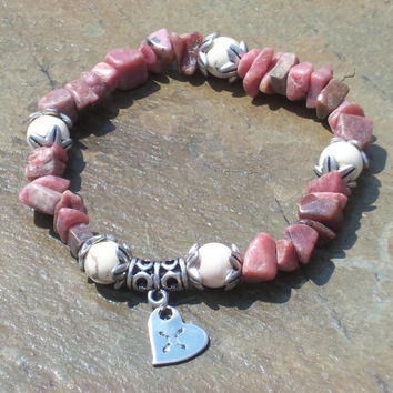 Let Your Heart Be Your Compass Rhodonite Bracelet