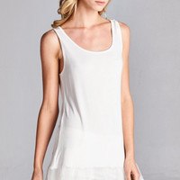 Tank w/Lace Extender, Ivory