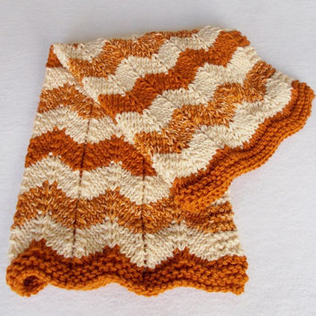 Hand Knit Baby Blanket, Orange Rust Cream Chunky Ripple Waves, Warm Winter Baby Afghan, Infant Baby Boy Girl Gift, Car Seat Stroller Blanket