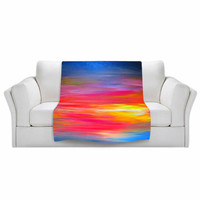 RAINBOW Bright Horizons Fleece Velveteen Art Blankets Red Yellow Blue Ombre Stripes Lightweight Soft Snuggly Warmth Colorful Multiple Sizes