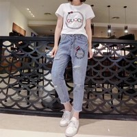 """Gucci"" Women Casual Fashion Beaded Rhinestone Letter Short Sleeve T-shirt Jeans Trousers Set Two-Piece"