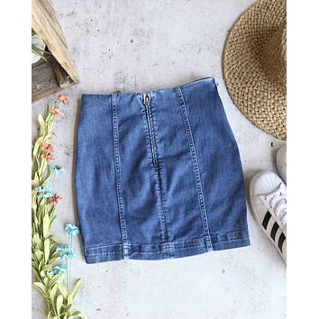 free people - modern femme novelty mini denim skirt - light blue