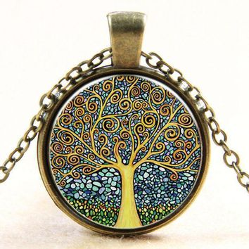 Vintage Time Stone Necklace Colorful Tree Of Life Necklace Steampunk Jewelry Short Necklace