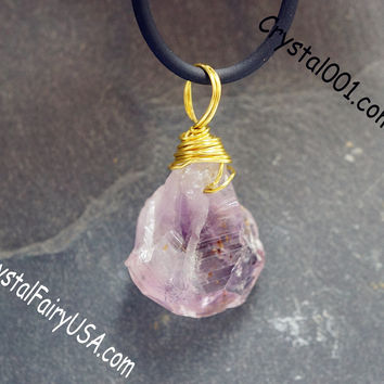 Wrapped Rough Amethyst Necklace Gift For Her USA