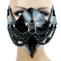 Black Chain & PVC Motorcycle Riding Mask Biker Cosplay