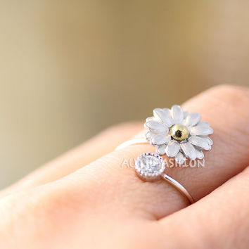 Sterling Silver Daisy Ring floral Flower Adjustable Ring Free Size Silver Plated Jewelry gift idea