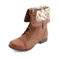 FLORAL-LINED FOLD-OVER COMBAT BOOTS