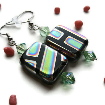 Rainbow Candy Earrings,Patterned Multicolor and Green Bicone Glass Beads, Silver Toned French Ear Wire Hooks