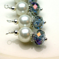 Bead Dangle Charm Set In Pearl and Mystic Purple Rondelle Crystal
