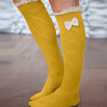 Our World Boutique Mustard & Ivory Ruffle Boot Socks   Something special every day