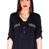 Black Studded Blouse