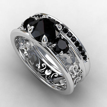 Filigree engagement ring set with black diamonds, white gold, gothic, half eternity, black diamond trinity, unique, black engagement, custom