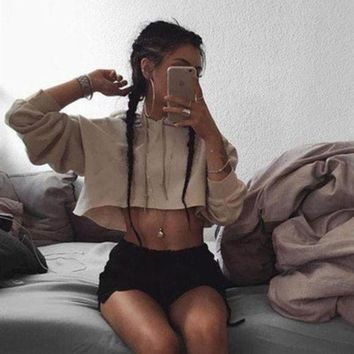 ONETOW Fashion Crop Top Drawstring Long Sleeve Hoodie Shirt Top Tee