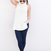 Billabong Turtleneck Side Slit Sweater {Cream}