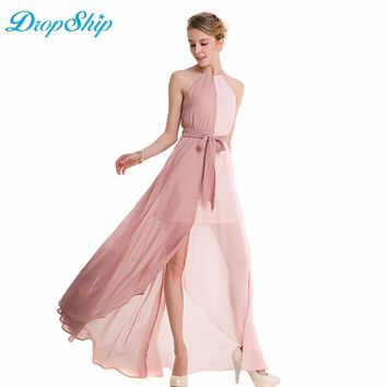 Dropsihp 2019 Summer Maxi Long Party Dress Women Halter Neck Vintage Sleeveless Lace Up Boho Sexy Beach Party Dresses Vestido