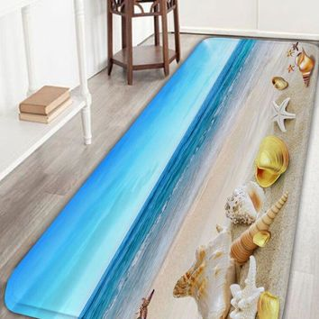 Beach Scenery Flannel Soft Bathroom Rug