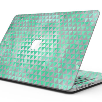 Green and Silver Watercolor Triangle Pattern - MacBook Pro with Retina Display Full-Coverage Skin Kit