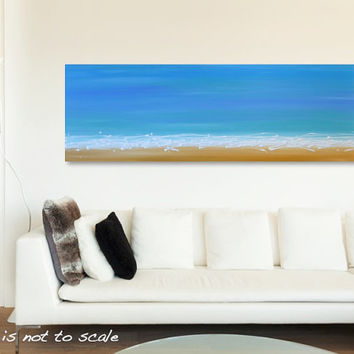 Original Abstract Beach Painting - Canvas Acrylic Wall Art - Yellow Sand, Waves, Blue Sky - Long Wide 48 x 16: Sunshine Coast -FREE SHIPPING
