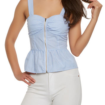 Striped Zip Front Peplum Top
