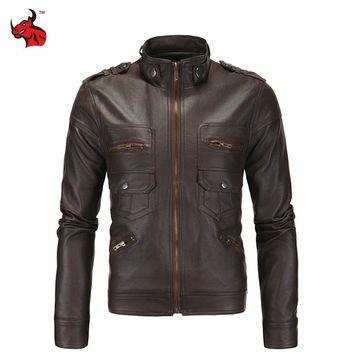 Mens Vintage Motorcycle Jacket Slim PU Leather Jacket Classical Moto Jacket Spring Autumn Stand Collar Motorcycle Clothing
