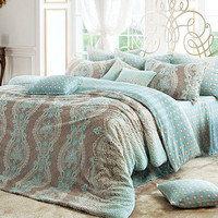 Tiffany Blue & Cocoa Microfiber Full Size Duvet Cover by BHDecor