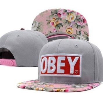 OBEY Floral Snapback Hats Grey Top Quality Men Women s Classic Baseball Caps 0d7b79fa4186