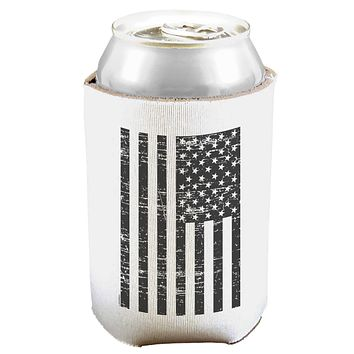 Vintage Black and White USA Flag Can and Bottle Insulator Cooler