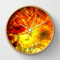 Flowers, Light, Yellow, Red, Joy - 10 Inch Round Wall Clock, 3 Frame Colors, kitchen, newlyweds, new home, fun design - Made To Order - J#77