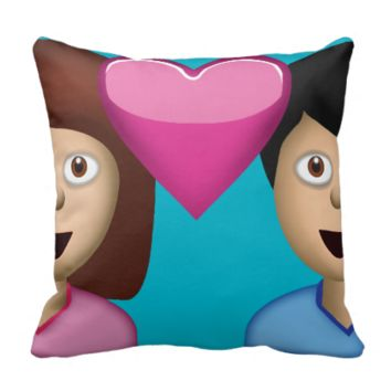 Couple With Heart Emoji Throw Pillow