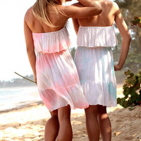 Tiare Hawaii Frill Short Dress Cream/Teal