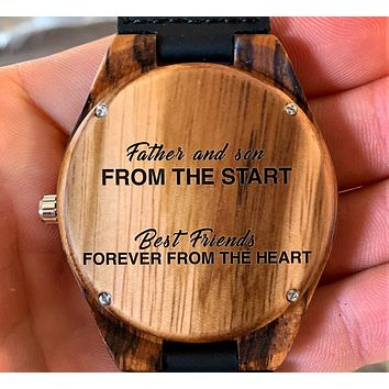 To My Father - Father and Son from the Start Best Friends Forever - Wooden Watch