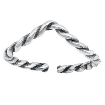 .925 Sterling Silver Chevron V Twisted Braid Ladies Ring Midi Adjustable Size Toe and Knuckle