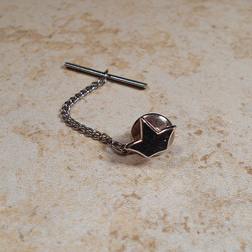 Swank Vintage Tie Tack Lapel Pin Silver Tone Crown Retro Mens Formal Jewelry Fathers Day Gift