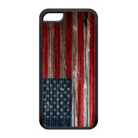 Vintage Wood Flag of United States - US Flag - American Flag - USA Flag Black Silicon Rubber Case for iPhone 5C by UltraFlags