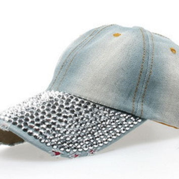 1pc Free shipping High quality Fashion Unisex Custom Made Cap Demin Fabric Jean Cap Rhinestone Baseball Cap B125