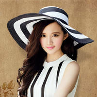 Brand caps girl summer straw hat beach  sun hats for women Sexy vogue ladies large brim women fan sombrero