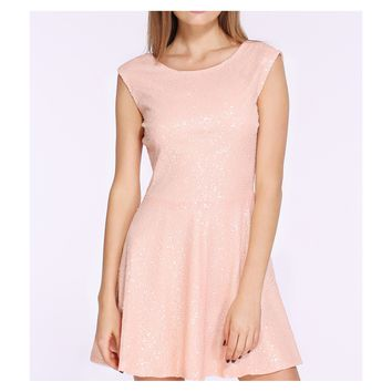 Blush Pink Sleeveless Backless Sequin Dress