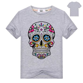 Mexican Flower Sweet Skull Print Kids T Shirt Casual Summer Cotton Top
