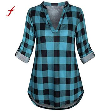 2018 Newest women clothing Split sexy deep V Neck Long Sleve Casual Roll-up breathable Plaid Tunic long Blouses